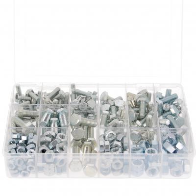 Zestaw w pudełku - 800 łbów sześciokątnych + nakrętki M4-M5-M6, stal 8.8 ocynk biały, Din 933