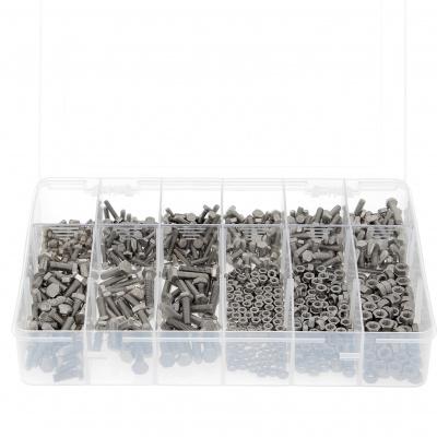 Zestaw w pudełku - 800 łbów sześciokątnych + nakrętki M4-M5-M6, stal nierdzewna A2, gwintowanie całkowite Din 933
