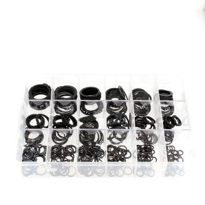 Zestaw asortymentowy w pudełku - pierścienie sprężynujące zabezpieczające zewnętrzne, stal czarna Din 471