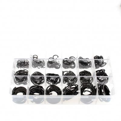 Zestaw asortymentowy w pudełku - pierścienie sprężynujące zabezpieczające wewnętrzne, stal czarna Din 472